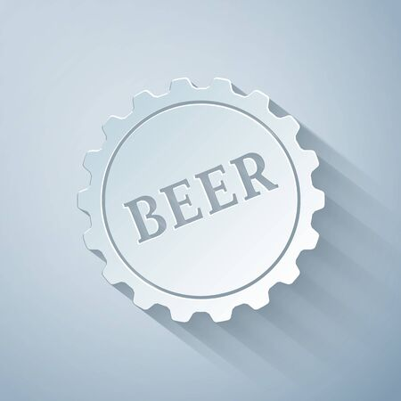 Paper cut Bottle cap with beer word icon isolated on grey background. Paper art style. Vector Illustration Illusztráció