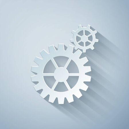 Paper cut Gear icon isolated on grey background. Cogwheel gear settings sign. Cog symbol. Paper art style. Vector Illustration Ilustração