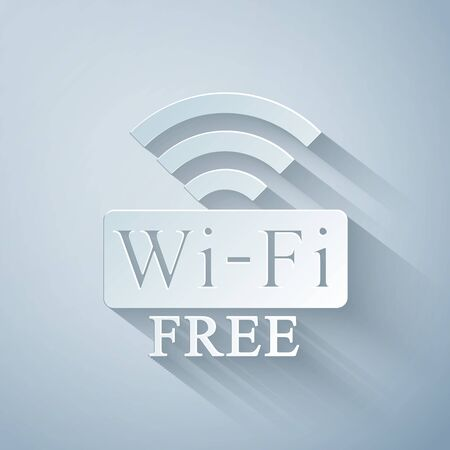 Paper cut Free Wi-fi icon isolated on grey background. Wi-fi symbol. Wireless Network icon. Wi-fi zone. Paper art style. Vector Illustration