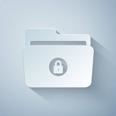 Paper cut Folder and lock icon isolated on grey background. Closed folder and padlock. Security, safety, protection concept. Paper art style. Vector Illustration Çizim