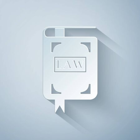 Paper cut Law book icon isolated on grey background. Legal judge book. Judgment concept. Paper art style. Vector Illustration Çizim
