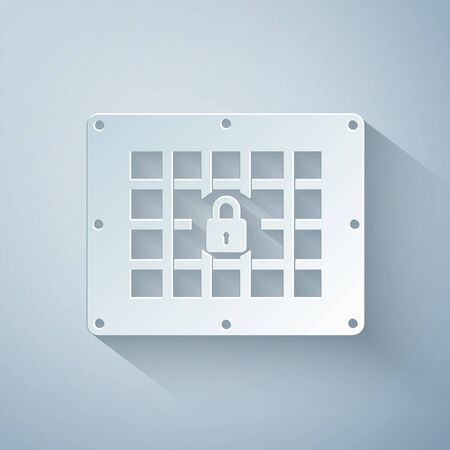 Paper cut Prison window icon isolated on grey background. Paper art style. Vector Illustration