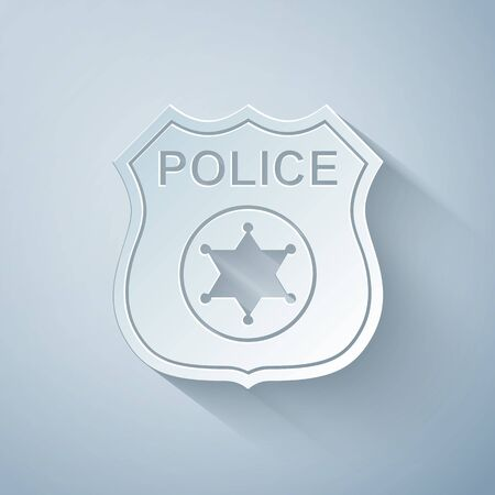Paper cut Police badge icon isolated on grey background. Sheriff badge sign. Paper art style. Vector Illustration