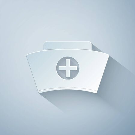 Paper cut Nurse hat with cross icon isolated on grey background. Medical nurse cap sign. Paper art style. Vector Illustration