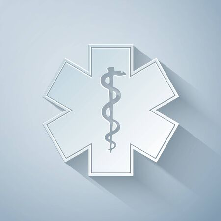 Paper cut Medical symbol of the Emergency - Star of Life icon isolated on grey background. Paper art style. Vector Illustration Çizim