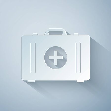 Paper cut First aid kit icon isolated on grey background. Medical box with cross. Medical equipment for emergency. Healthcare concept. Paper art style. Vector Illustration Çizim