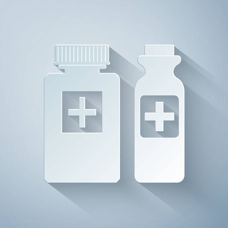 Paper cut Medicine bottle icon isolated on grey background. Bottle pill sign. Pharmacy design. Paper art style. Vector Illustration