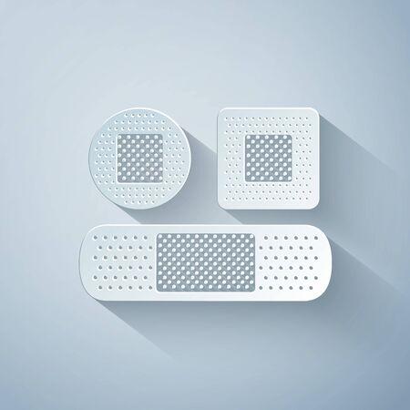 Paper cut Set Bandage plaster icon isolated on grey background. Medical plaster, adhesive bandage, flexible fabric bandage. Paper art style. Vector Illustration