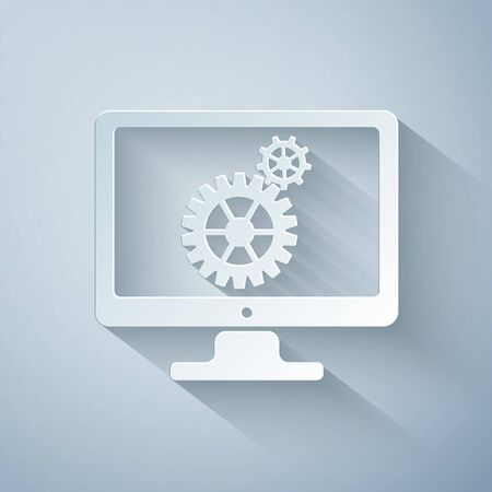 Paper cut Computer monitor and gears icon on grey background. Monitor service concept. Adjusting app, setting options, maintenance, repair, fixing concepts. Paper art style. Vector Illustration