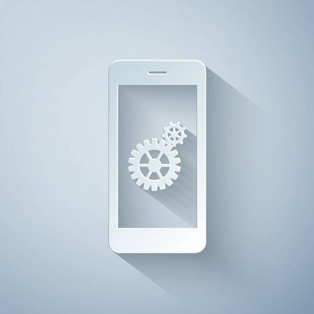 Paper cut Setting on smartphone screen icon isolated on grey background. Mobile phone and gear sign. Adjusting app, set options, repair, fixing phone concepts. Paper art style. Vector Illustration