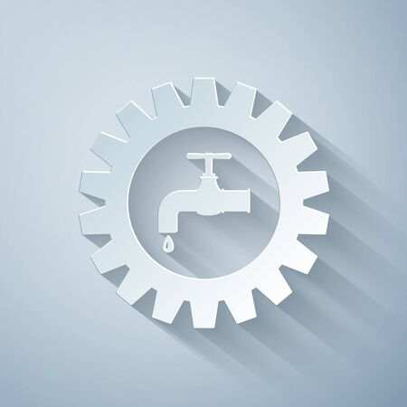 Paper cut Gearwheel with tap icon isolated on grey background. Plumbing work symbol. Paper art style. Vector Illustration