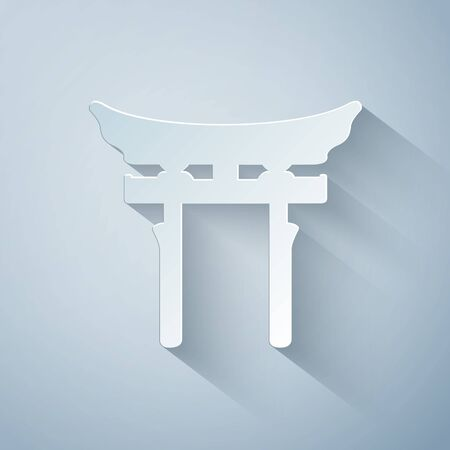 Paper cut Japan Gate icon isolated on grey background. Torii gate sign. Japanese traditional classic gate symbol. Paper art style. Vector Illustration