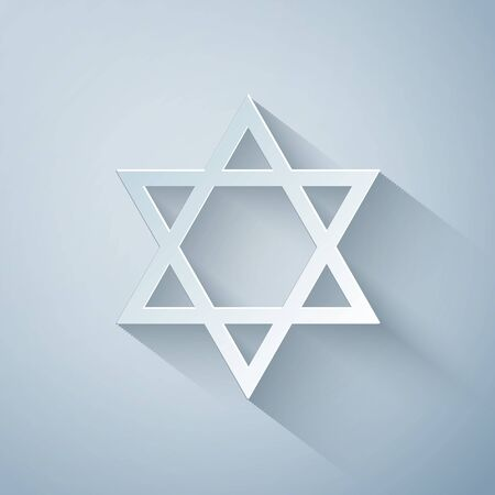 Paper cut Star of David icon isolated on grey background. Jewish religion symbol. Paper art style. Vector Illustration
