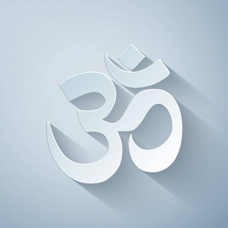 Paper cut Om or Aum Indian sacred sound icon isolated on grey background. Symbol of Buddhism and Hinduism religions. The symbol of the divine triad of Brahma, Vishnu and Shiva. Vector Illustration