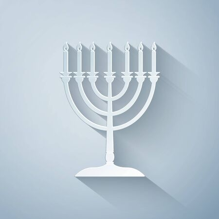 Paper cut Hanukkah menorah icon isolated on grey background. Religion icon. Hanukkah traditional symbol. Holiday religion, jewish festival of Lights. Paper art style. Vector Illustration