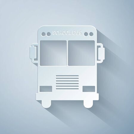 Paper cut School Bus icon isolated on grey background. Paper art style. Vector Illustration