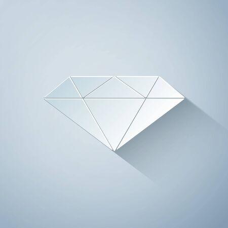 Paper cut Diamond icon isolated on grey background. Jewelry symbol. Gem stone. Paper art style. Vector Illustration Çizim