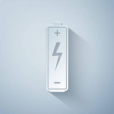 Paper cut Battery icon isolated on grey background. Lightning bolt symbol. Paper art style. Vector Illustration Çizim