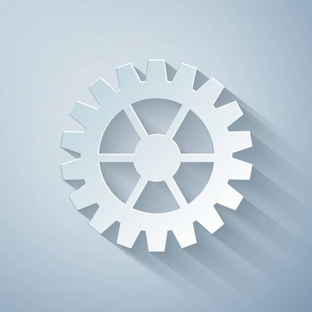Paper cut Gear icon isolated on grey background. Cogwheel gear settings sign. Cog symbol. Paper art style. Vector Illustration Çizim