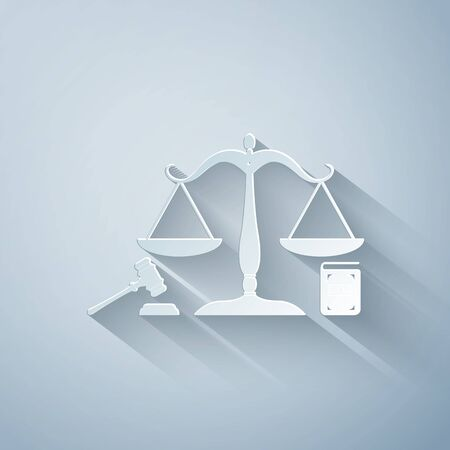 Paper cut Scales of justice, gavel and book icon isolated on grey background. Symbol of law and justice. Concept law. Legal law and auction symbol. Paper art style. Vector Illustration Çizim