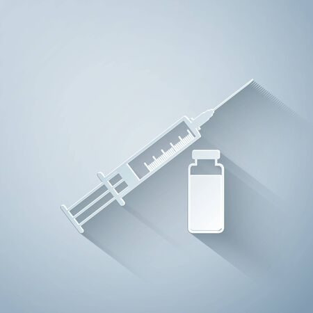 Paper cut Medical syringe with needle and vial or ampoule icon isolated on grey background. Vaccination, injection, vaccine, insulin concept. Paper art style. Vector Illustration Çizim