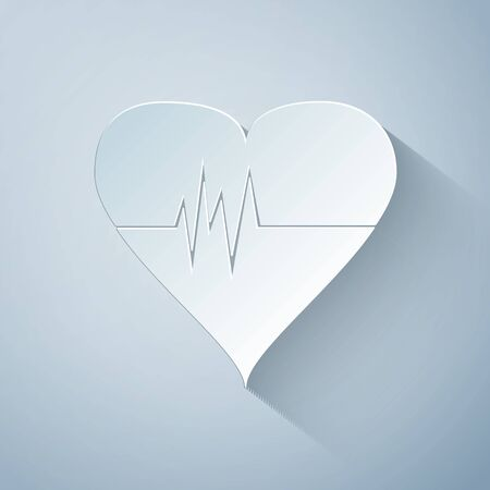 Paper cut Heart rate icon isolated on grey background. Heartbeat sign. Heart pulse icon. Cardiogram icon. Paper art style. Vector Illustration Çizim