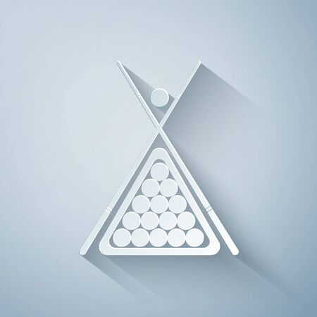 Paper cut Billiard cue and balls in a rack triangle icon isolated on grey background. Paper art style. Vector Illustration