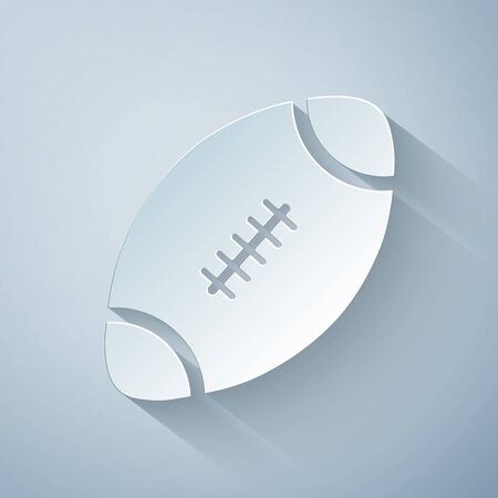 Paper cut American Football ball icon isolated on grey background. Paper art style. Vector Illustration