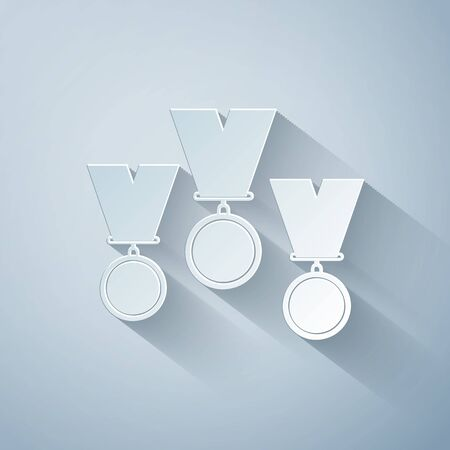 Paper cut Medal set icon isolated on grey background. Winner simbol. Paper art style. Vector Illustration