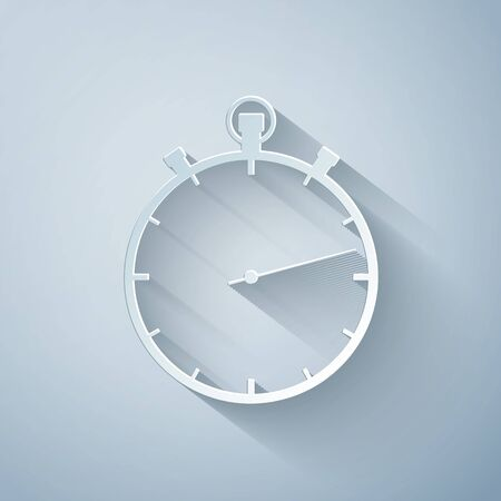 Paper cut Stopwatch icon isolated on grey background. Time timer sign. Paper art style. Vector Illustration Çizim