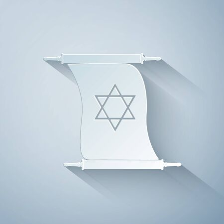Paper cut Torah scroll icon isolated on grey background. Jewish Torah in expanded form. Torah Book sign. Star of David symbol. Simple old parchment scroll. Paper art style. Vector Illustration