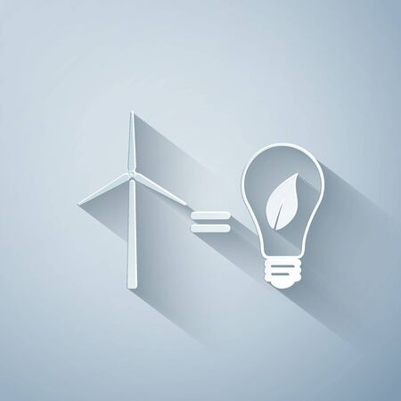 Paper cut Wind turbine and light bulb with leaves as idea of eco-friendly source of energy icon isolated on grey background. Paper art style. Vector Illustration Çizim