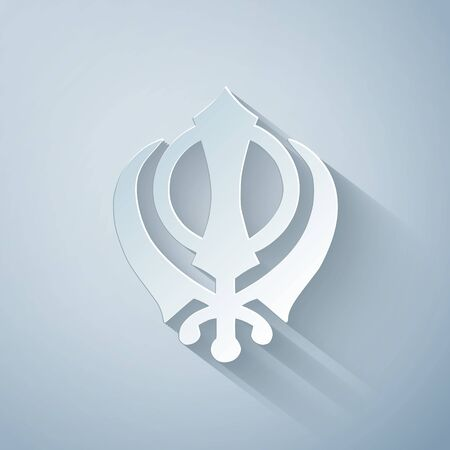 Paper cut Sikhism religion Khanda symbol icon isolated on grey background. Khanda Sikh symbol. Paper art style. Vector Illustration Çizim
