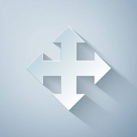 Paper cut Arrows in four directions icon isolated on grey background. Paper art style. Vector Illustration