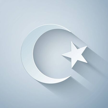 Paper cut Star and crescent - symbol of Islam icon isolated on grey background. Religion symbol. Paper art style. Vector Illustration