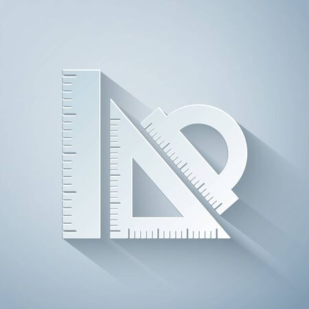 Paper cut Set ruler, triangular ruler and protractor icon isolated on grey background. Straightedge sign. Triangle sign. Geometrical instruments. Paper art style. Vector Illustration