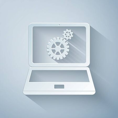 Paper cut Laptop and gears icon isolated on grey background. Laptop service concept. Adjusting app, setting options, maintenance, repair, fixing laptop concepts. Paper art style. Vector Illustration Ilustração