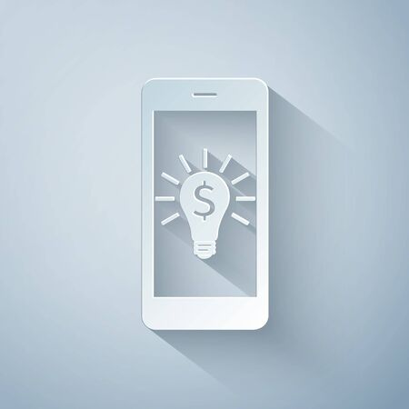 Paper cut Business light bulb with dollar on smartphone screen icon isolated on grey background. User touch screen. Paper art style. Vector Illustration