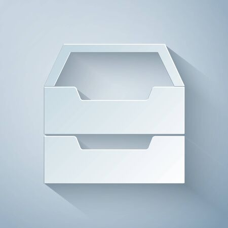 Paper cut Drawer with documents icon isolated on grey background. Archive papers drawer. File Cabinet Drawer. Office furniture. Paper art style. Vector Illustration