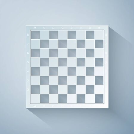 Paper cut Chess board icon isolated on grey background. Ancient Intellectual board game. Paper art style. Vector Illustration