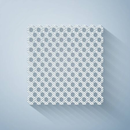 Paper cut Chain Fence icon isolated on grey background. Metallic wire mesh pattern. Paper art style. Vector Illustration