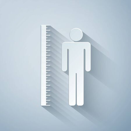 Paper cut Measuring height body icon isolated on grey background. Paper art style. Vector Illustration