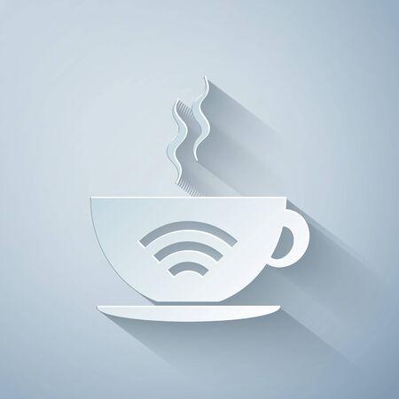 Corte de papel Taza de cafetería con icono de zona wifi gratuito aislado sobre fondo gris. Cartel de conexión a Internet. Estilo de arte de papel. Ilustración vectorial