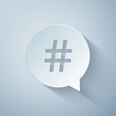 Paper cut Hashtag in circle icon isolated on grey background. Social media symbol, concept of number sign, social media, micro blogging pr popularity. Paper art style. Vector Illustration