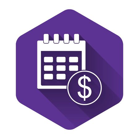 White Financial calendar icon isolated with long shadow. Annual payment day, monthly budget planning, fixed period concept, loan duration. Purple hexagon button. Vector Illustration Illusztráció