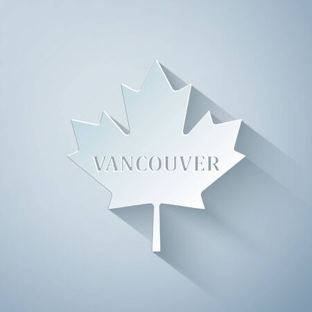 Paper cut Canadian maple leaf with city name Vancouver icon isolated on grey background. Paper art style. Vector Illustration