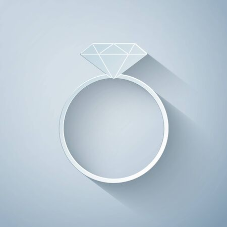 Paper cut Diamond engagement ring icon isolated on grey background. Paper art style. Vector Illustration