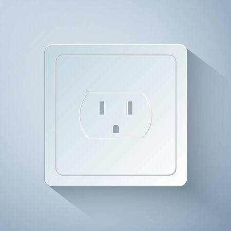 Paper cut Electrical outlet in the USA icon isolated on grey background. Power socket. Paper art style. Vector Illustration Ilustrace