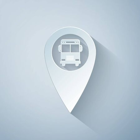 Paper cut Map pointer with bus icon isolated on grey background. Paper art style. Vector Illustration Ilustracja