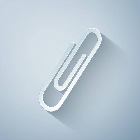 Paper cut Paper clip icon isolated on grey background. Paper art style. Vector Illustration Stock Photo